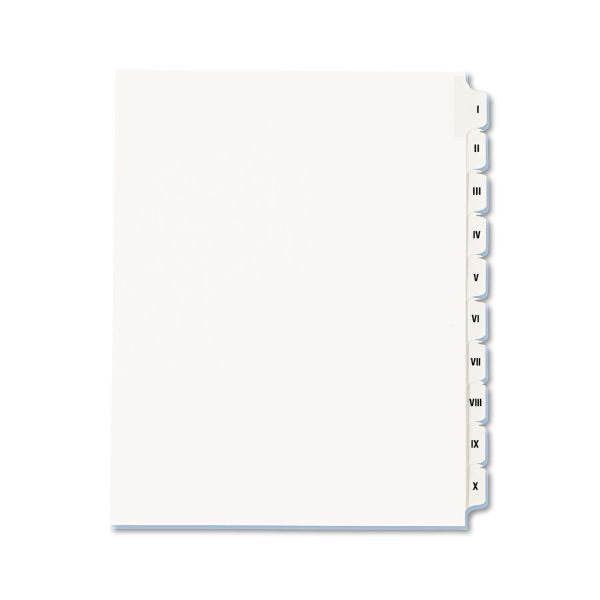 Avery Allstate-Style Legal Exhibit Side Tab Dividers, 10-Tab, I-X, Letter, White