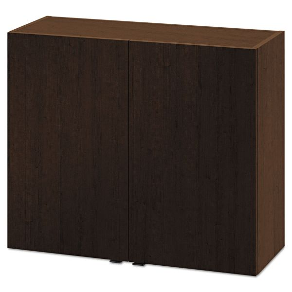 HON Hospitality Wall Cabinet, Two Doors, 36w x 14d x 30h, Mocha