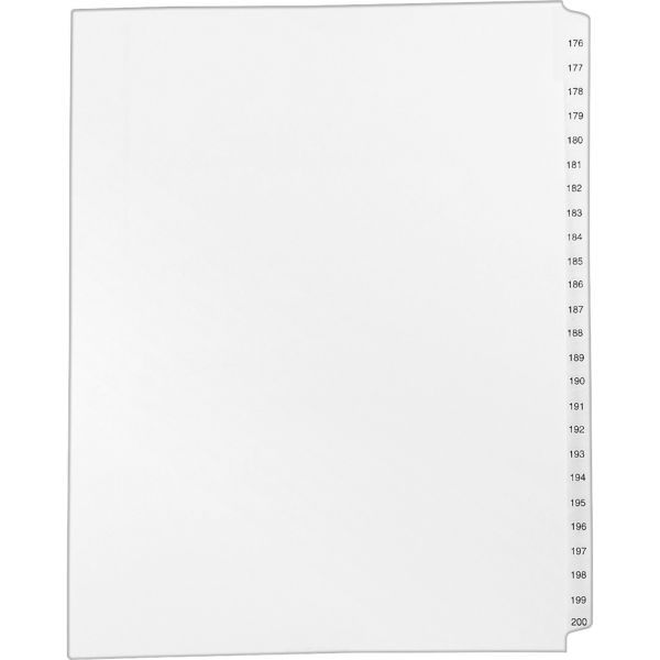 Avery Allstate-Style Legal Exhibit Side Tab Dividers, 25-Tab, 176-200, Letter, White