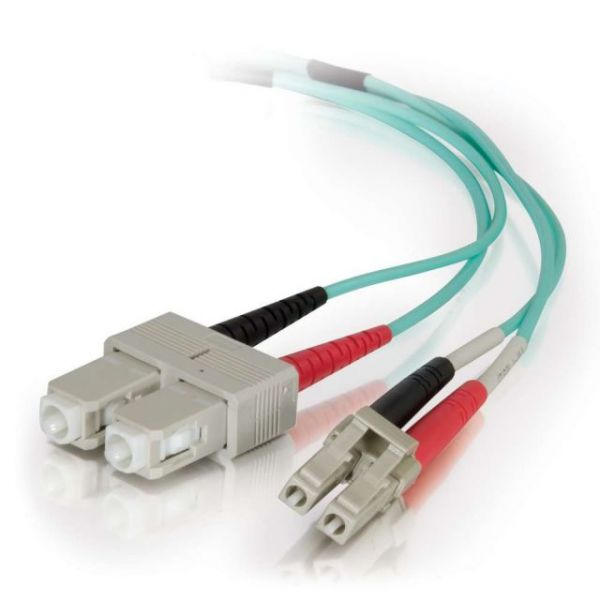 C2G 1m LC-SC 40/100Gb 50/125 OM4 Duplex Multimode PVC Fiber Optic Cable - Aqua