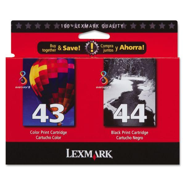 Lexmark #43 Color/#44 Black Combo Pack Ink Cartridges (18Y0372)