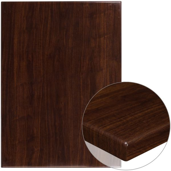 Flash Furniture 30'' x 42'' High-Gloss Walnut Resin Table Top with 2'' Thick Drop-Lip