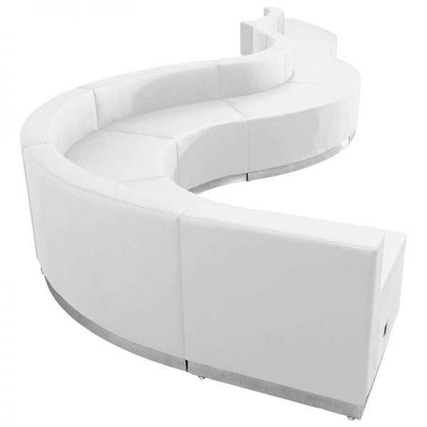 Flash Furniture HERCULES Alon Series Melrose White Leather Reception Configuration, 9 Pieces