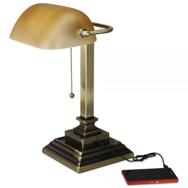 "Alera Traditional Banker's Lamp w/USB, 16""High, Amber Glass Shade w/Antique Brass Base"