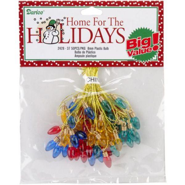 Plastic Christmas Tree Bulbs 8mm 50/Pkg