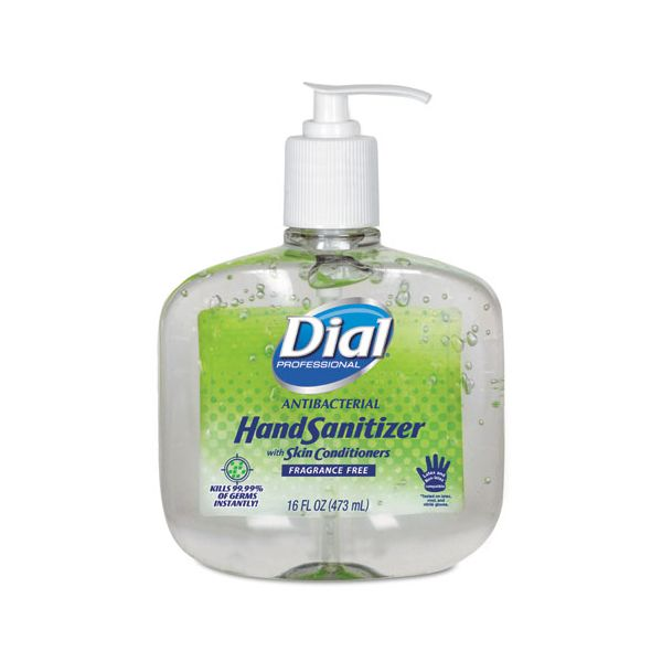Dial Professional Antibacterial Gel Hand Sanitizer w/Moisturizers, 16 oz Pump, Fragrance-Free