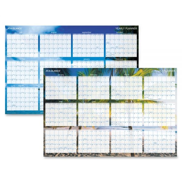 Visual Organizer Tropical Erasable Yearly Wall Planner