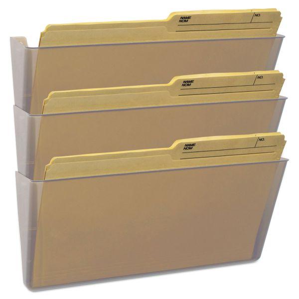 Storex Wall File, Legal 16 x 14, Three Pocket, Clear