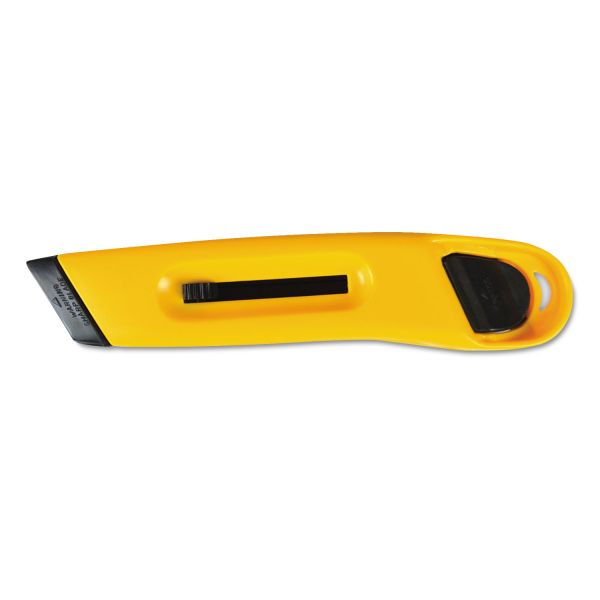 COSCO Plastic Utility Knife with Retractable Blade and Snap Closure, Yellow