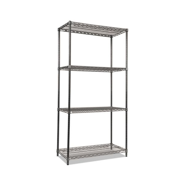 Alera Wire Shelving Starter Kit, Four-Shelf, 36w x 18d x 72h, Black Anthracite