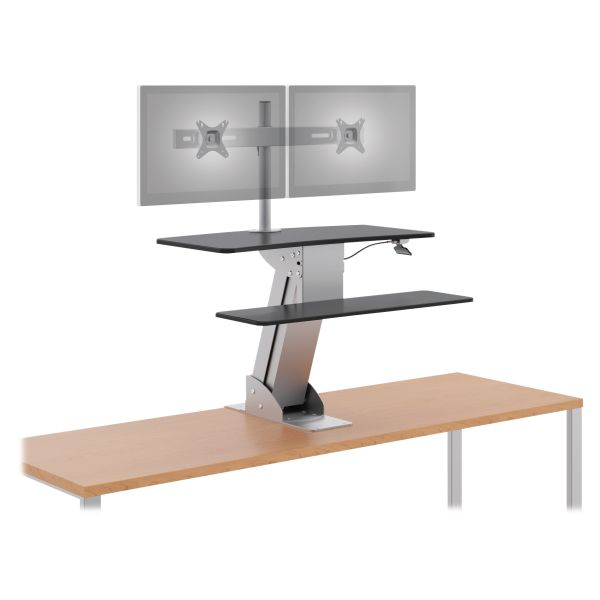 HON Directional Desktop Sit-to-Stand with Dual Monitor Arm, Silver/Black