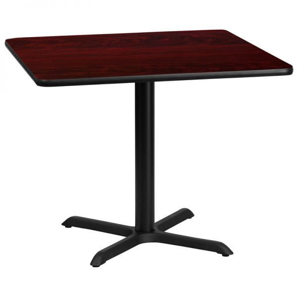 Flash Furniture 36'' Square Mahogany Laminate Table Top with 30'' x 30'' Table Height Base