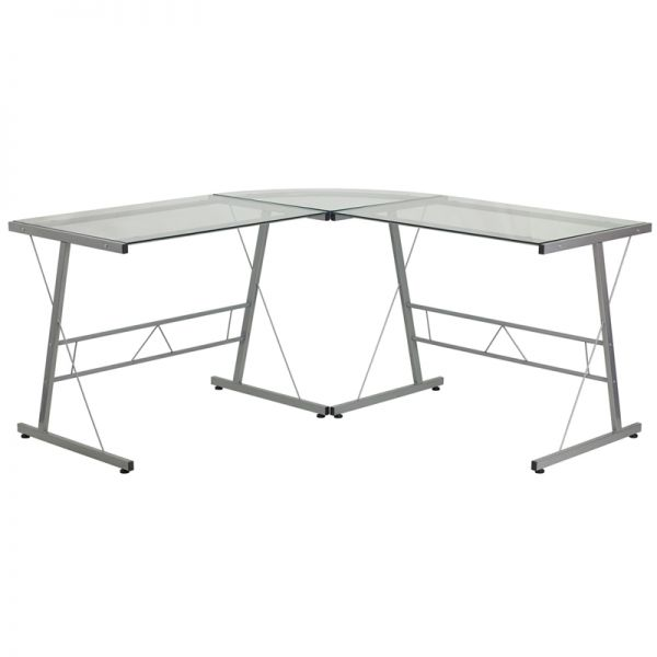 Flash Furniture Glass L-Shape Computer Desk with Silver Frame Finish