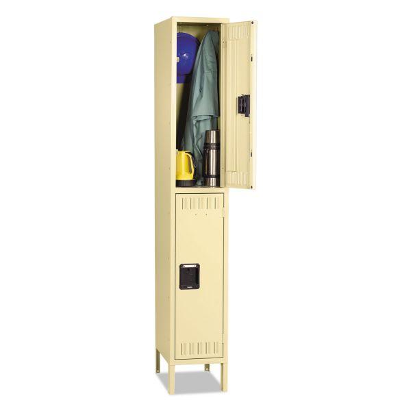 Tennsco Double Tier Locker with Legs, Single Stack, 12w x 18d x 78h, Sand