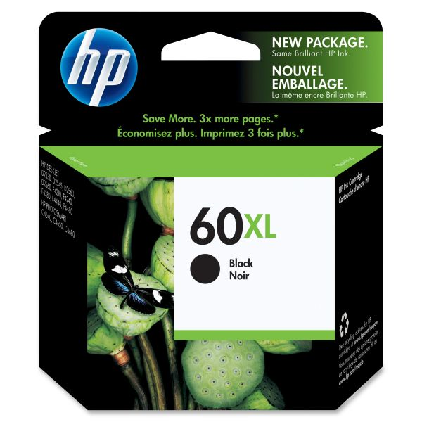 HP 60XL High Yield Black Ink Cartridge (CC641WN)