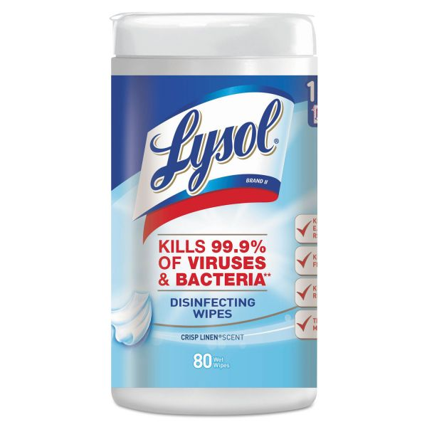 LYSOL Brand Disinfecting Wipes, Crisp Linen Scent, 7 x 8, 80/Canister, 6 Canister/Carton