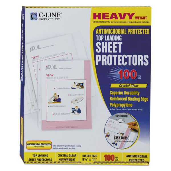C-Line Antimicrobial Top Loading Sheet Protectors