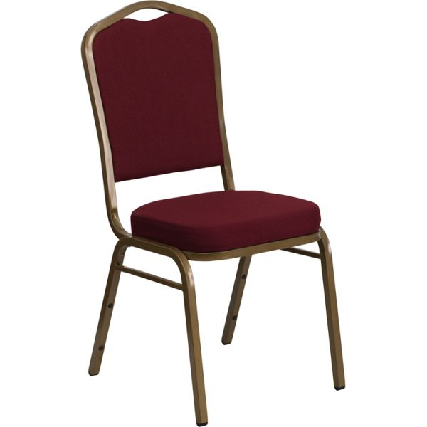 Flash Furniture HERCULES Series Crown Back Stacking Banquet Chair with Burgundy Fabric and 2.5'' Thick Seat - Gold Frame