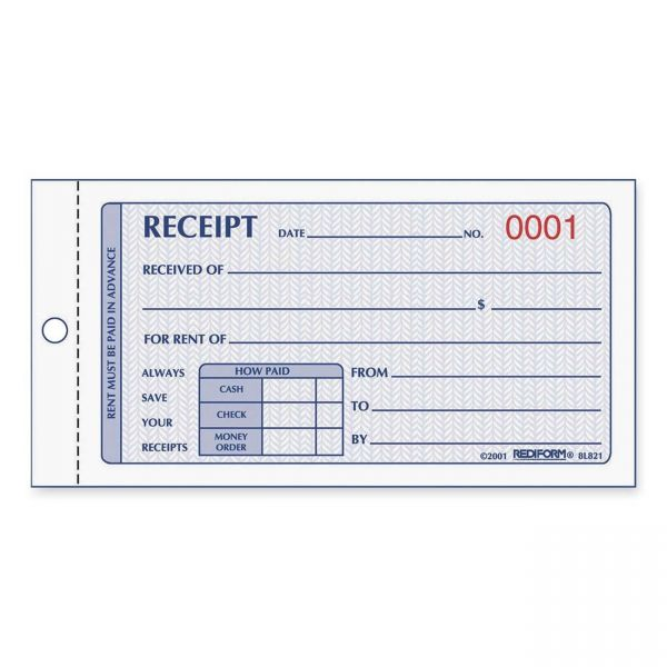 Rediform Rent 2-Part Receipt Book
