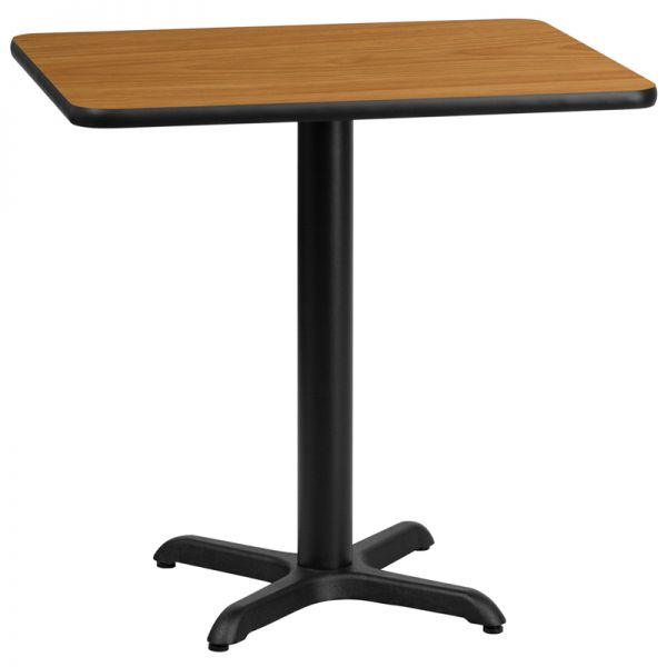 Flash Furniture 24'' x 30'' Rectangular Natural Laminate Table Top with 22'' x 22'' Table Height Base
