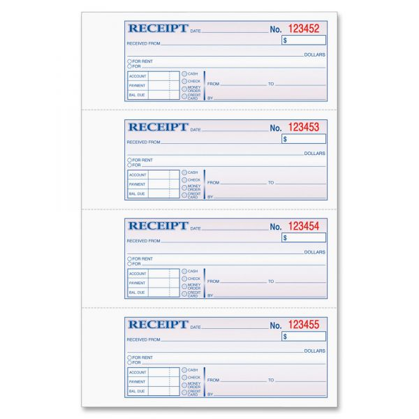 Tops Manifold Money/Rent 3-Part Receipt Book