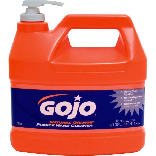 GOJO NATURAL ORANGE Pumice Hand Cleaner, Orange Citrus, 1gal Pump