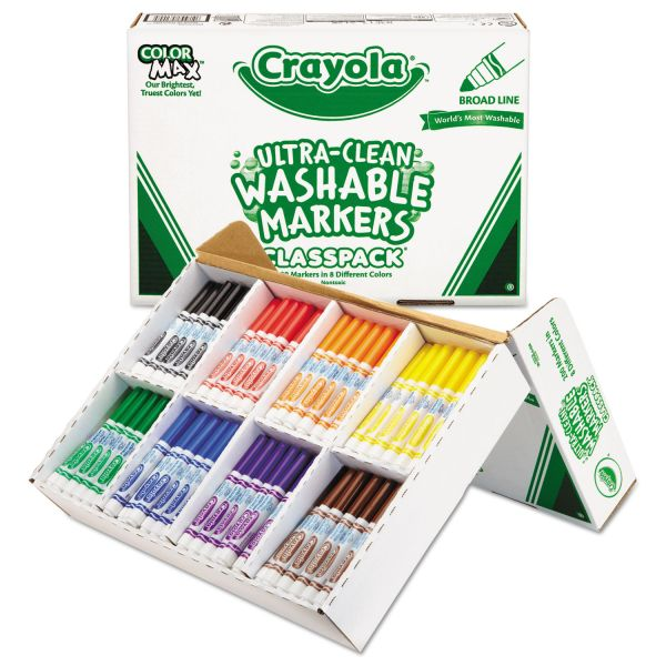 Crayola Washable Classpack Markers, Broad Point, Assorted, 200/Box