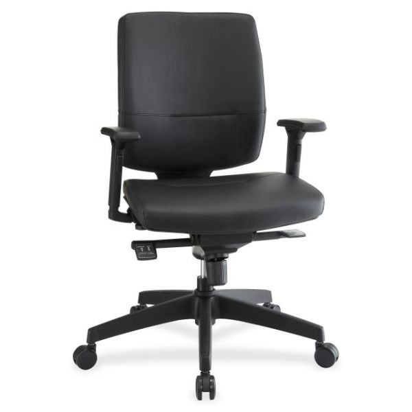 Lorell Adjustable Arms Leather Executive Mid-Back Office Chair
