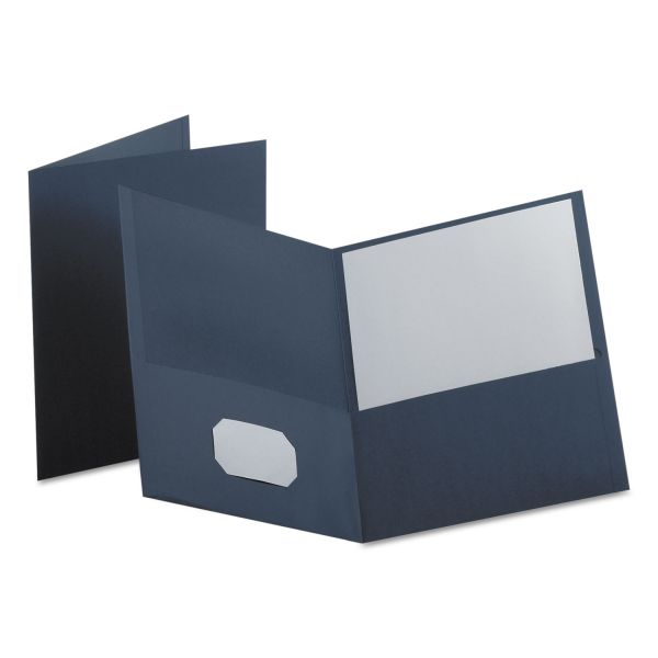 Oxford Twin-Pocket Folder, 100-Sheet Capacity, Dark Blue, 25/Box