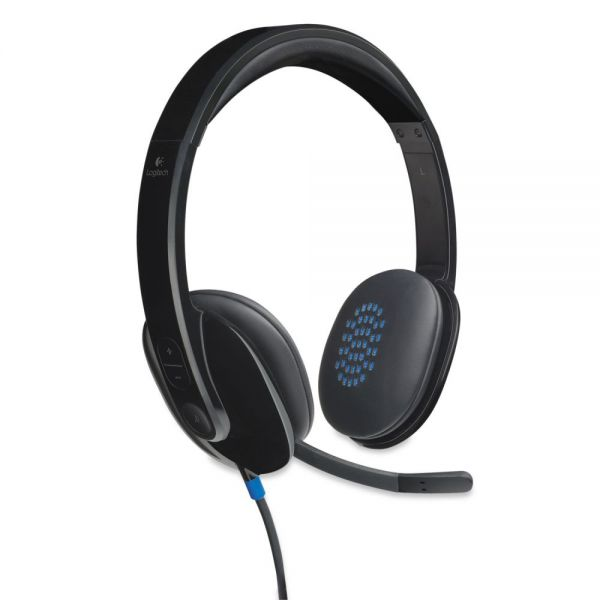 Logitech H540 Corded Headset, USB, Black