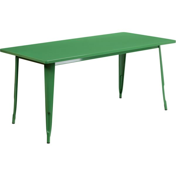 Flash Furniture 31.5'' x 63'' Rectangular Green Metal Indoor-Outdoor Table