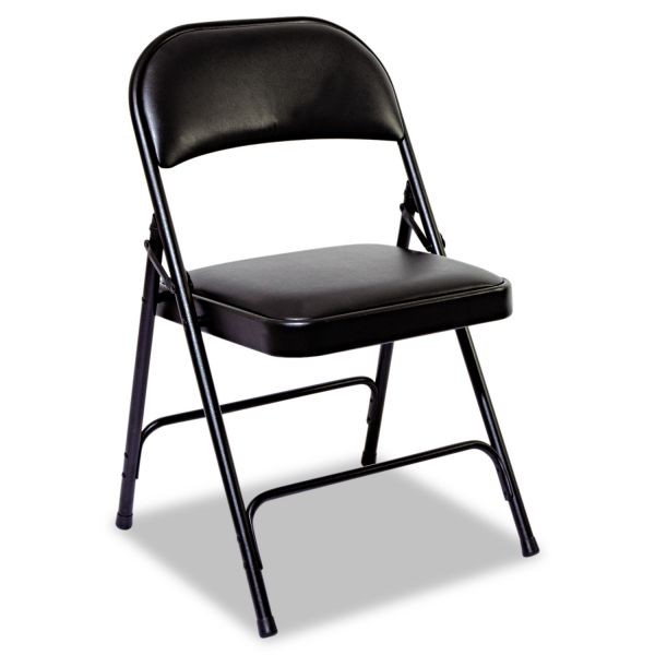 Alera Steel Folding Chair with Two-Brace Support, Padded Back/Seat, Graphite, 4/Carton