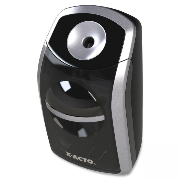 X-ACTO SharpX Portable Pencil Sharpener, Battery Operated, Black/Silver