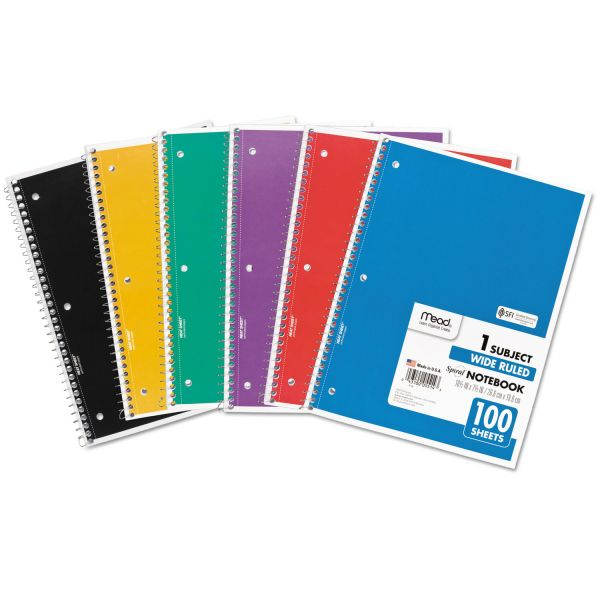 Mead Wide Ruled 1 Subject Spiral Notebooks