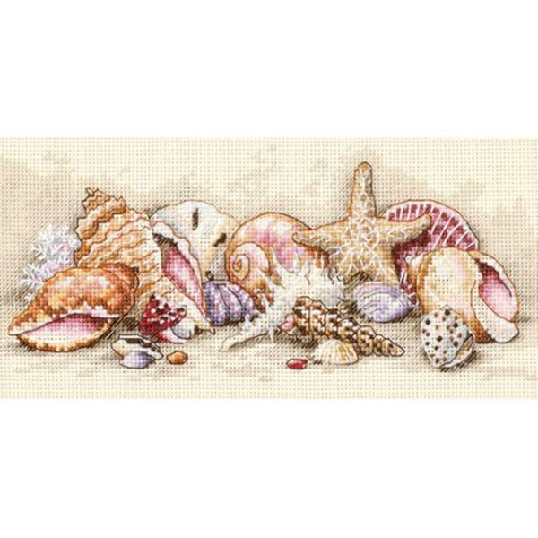 Gold Petite Seashell Treasures Counted Cross Stitch Kit