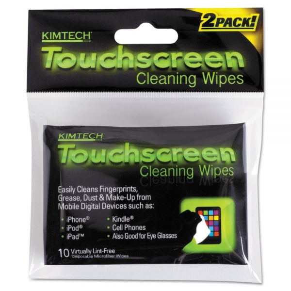 Kimtech* Disposable Wipes, 3 1/10 x 3 9/10, White, 10 Wipes/Pouch, 12 Pouches/Bx, 4 Bx/Ct