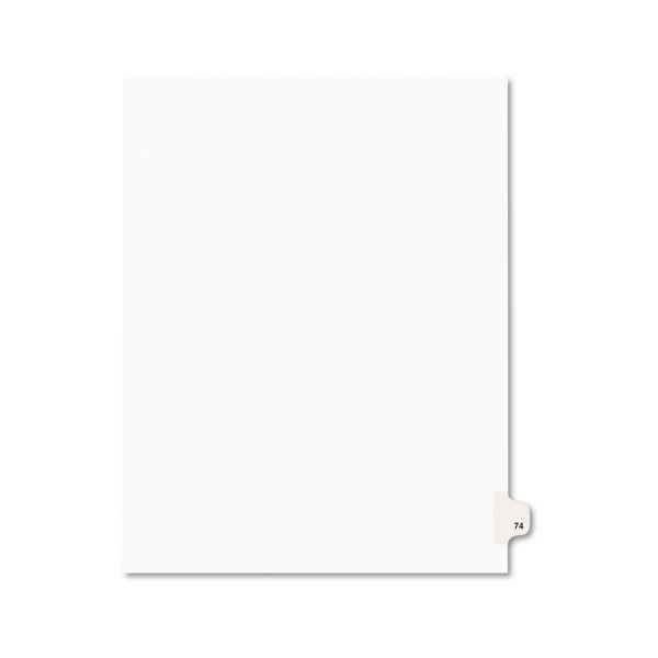 Avery Avery-Style Legal Exhibit Side Tab Divider, Title: 74, Letter, White, 25/Pack