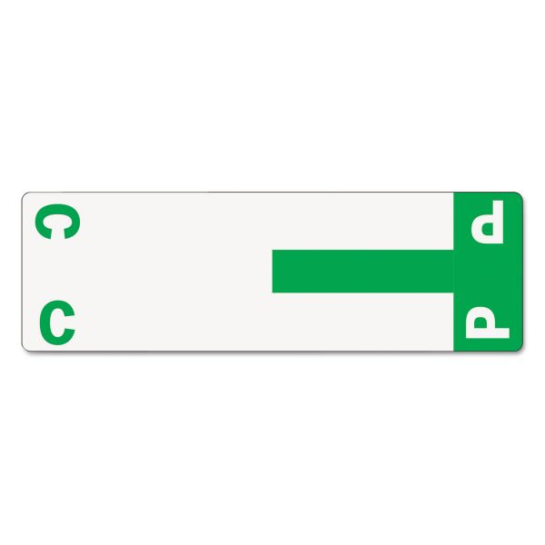 Smead Alpha-Z Color-Coded First Letter Name Labels, C & P, Dark Green, 100/Pack