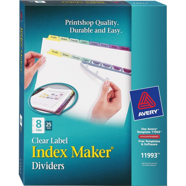 Avery Print & Apply Clear Label Dividers, 8-Tab, Multi-color Tab, Letter, 25 Sets