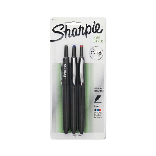Sharpie Porous Point Retractable Permanent Water Resistant Pen, Assorted Ink, 3/Set
