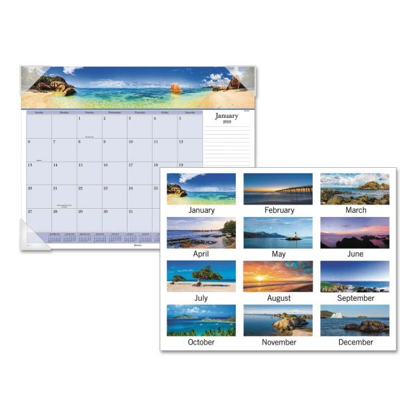 AT-A-GLANCE Images of the Sea Monthly Desk Pad Calendar, 22 x 17, 2019