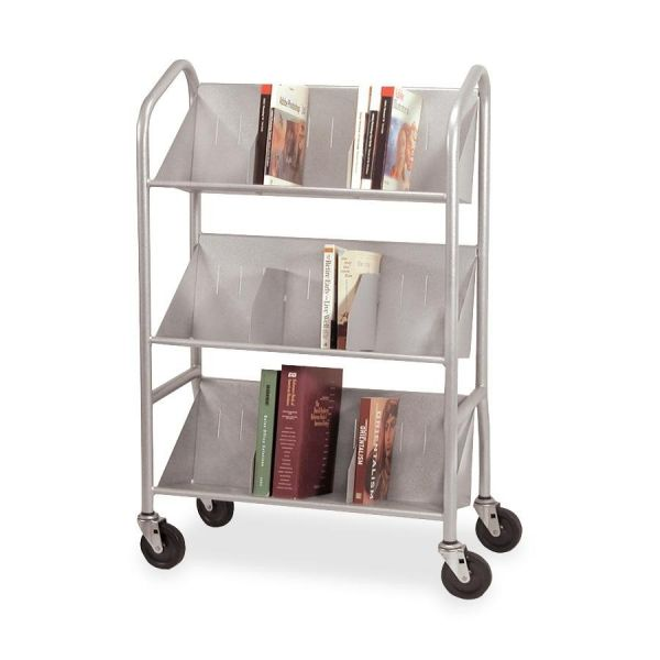 Buddy Sloped Shelf Book Cart with Dividers
