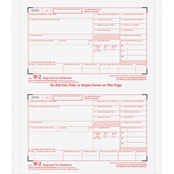 TOPS Standard W-2 Tax Forms
