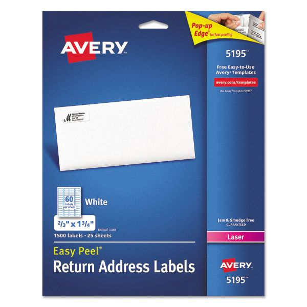 Avery Easy Peel Mailing Address Labels, Laser, 2/3 x 1 3/4, White, 1500/Pack