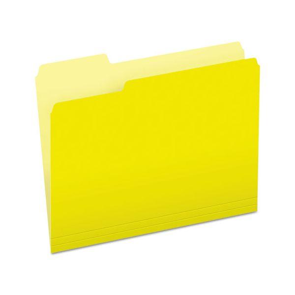 Pendaflex Colored File Folders, 1/3 Cut Top Tab, Letter, Yellow, Light Yellow, 100/Box