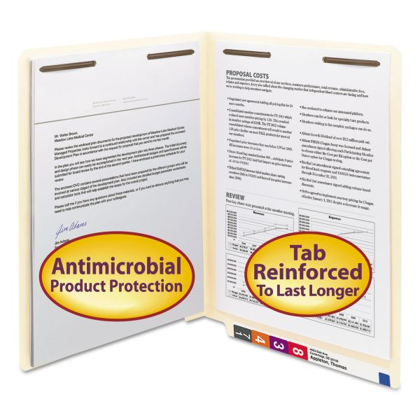 Smead Antimicrobial Two-Fastener End Tab Folder, Letter, 11 Point Manila, 50/Box