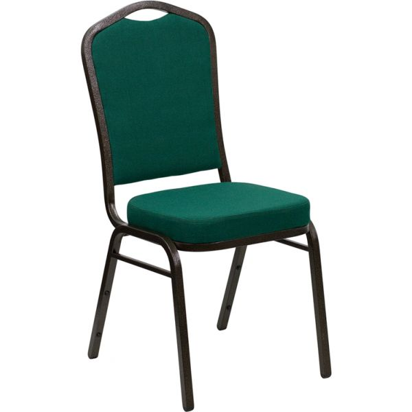 Flash Furniture HERCULES Series Crown Back Stacking Banquet Chair with Green Fabric and 2.5'' Thick Seat - Gold Vein Frame