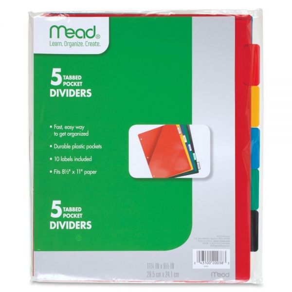 Five Star Plastic Index Dividers with Pockets