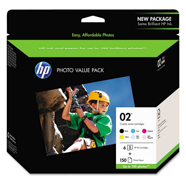 HP 02 Combo Pack Ink Cartridges & Photo Paper (Q7964AN)