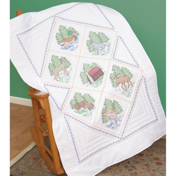 "Stamped White Lap Quilt Top 40""X60"""